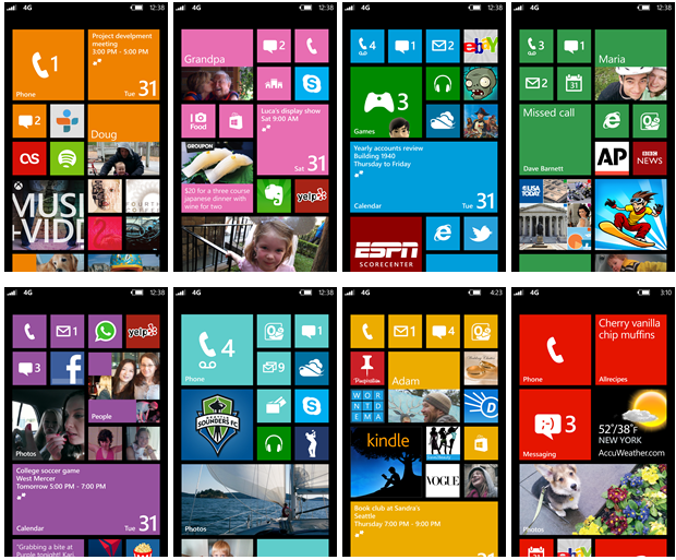 Windows Phone 8 screens
