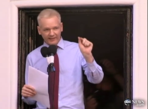 Julian Assange, on Ecuador Embassy - from ABC coverage