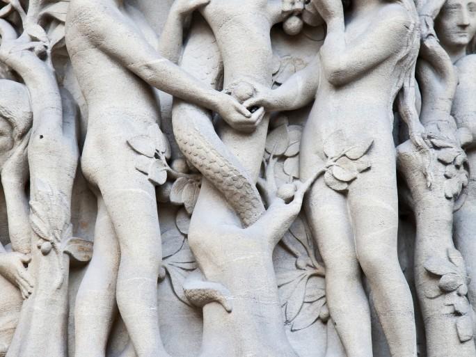 vine porn adam and eve figleaf nudity nude Notre Dame carving © Shutterstock