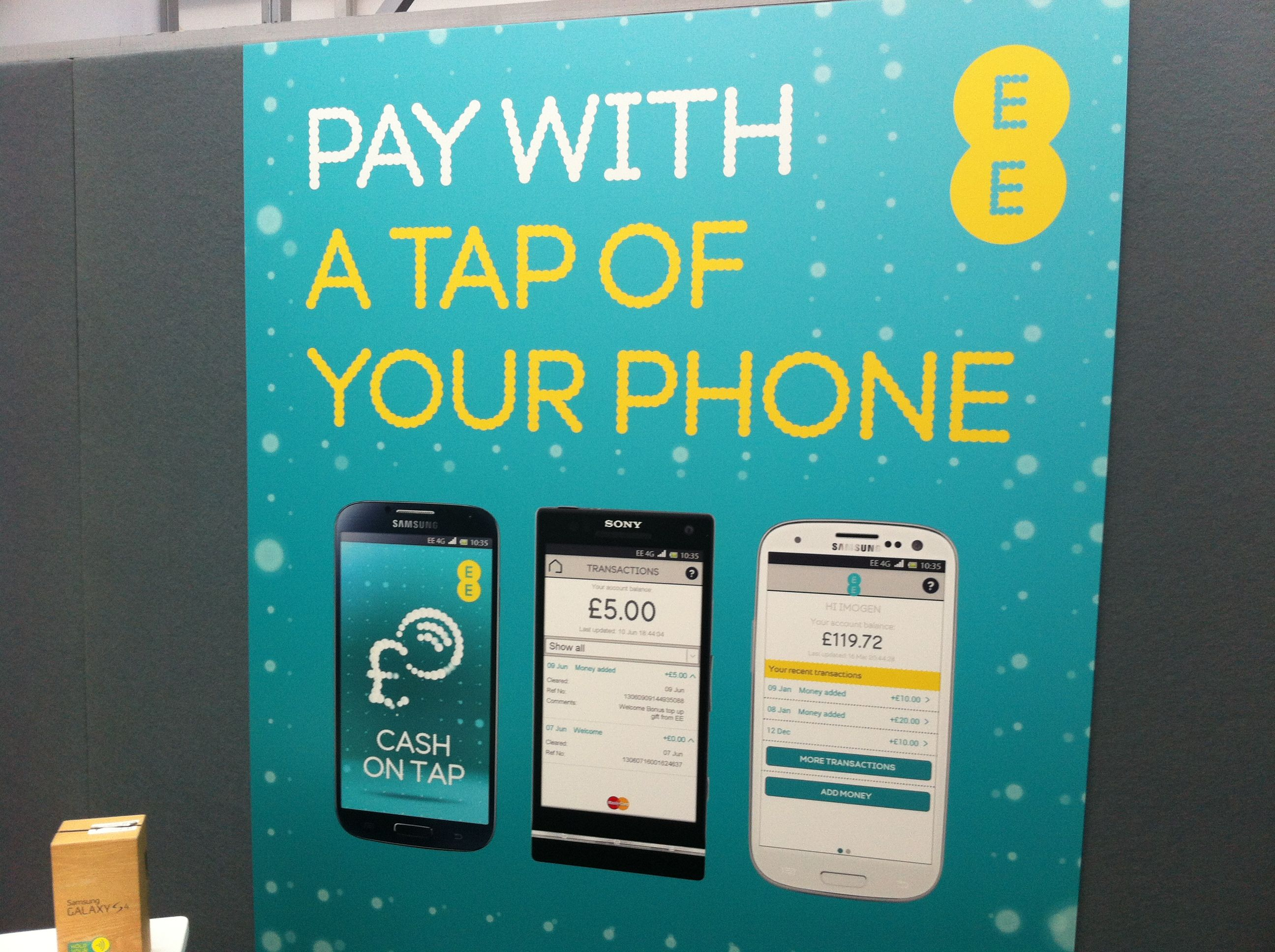 Ee 4g Offers Cash On Tap Mobile Payment Service For Nfc Handsets