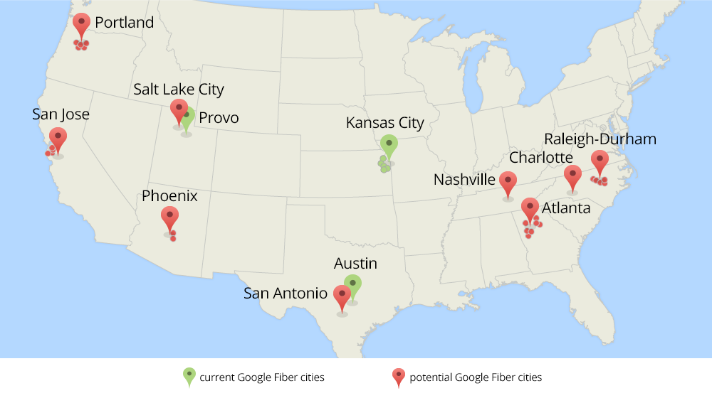 google fiber USA map
