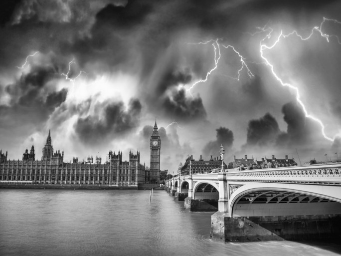 government parliament big ben public sector failure disaster storm clouds © CristinaMuraca Shutterstock