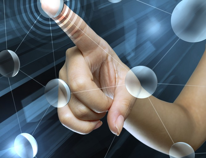 Network abstract finger touch wireless wi-fi © flydragon Shutterstock