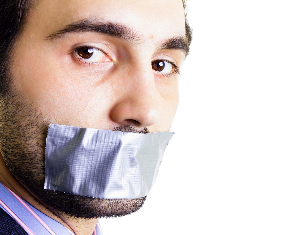 censor gag free speech right to be forgotten silence © Alexandru Logel Shutterstock