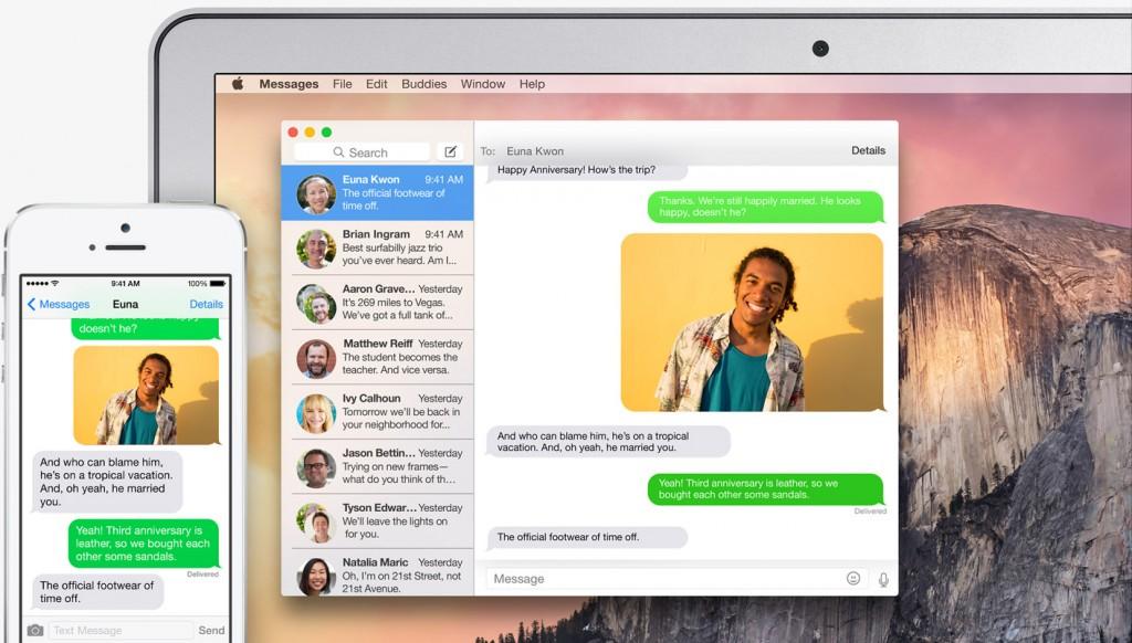 Mac OS X Yosemite SMS