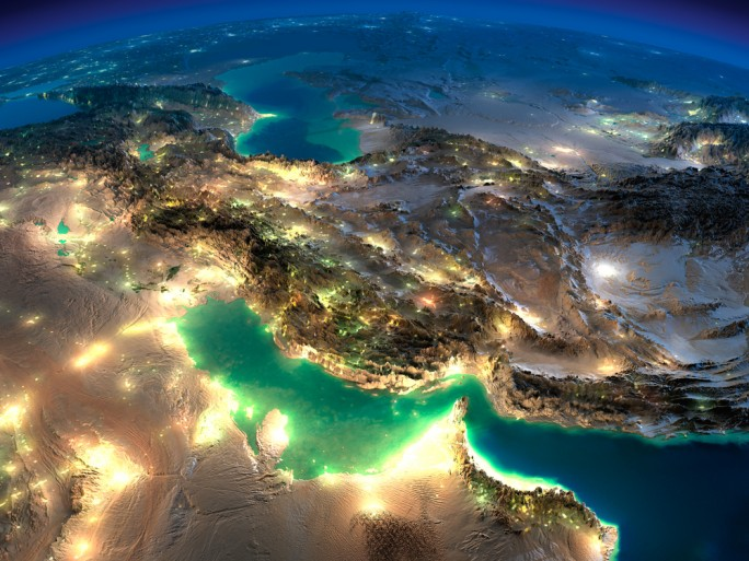 Middle East Night Network Persian Gulf Iraq Saudi Arabla © Anton Balazh Shutterstock