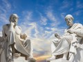 statues of philosophers Plato and Socrates