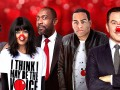 Comic Relief – Face the Funny 7pm BBC One 13th March 2015 L-R Russell Brand, Claudia Winkelman, Lenny Henry, Doc Brown, David Walliams, Stephen Fry, Idris Elba, Dawn French, Davina McCall