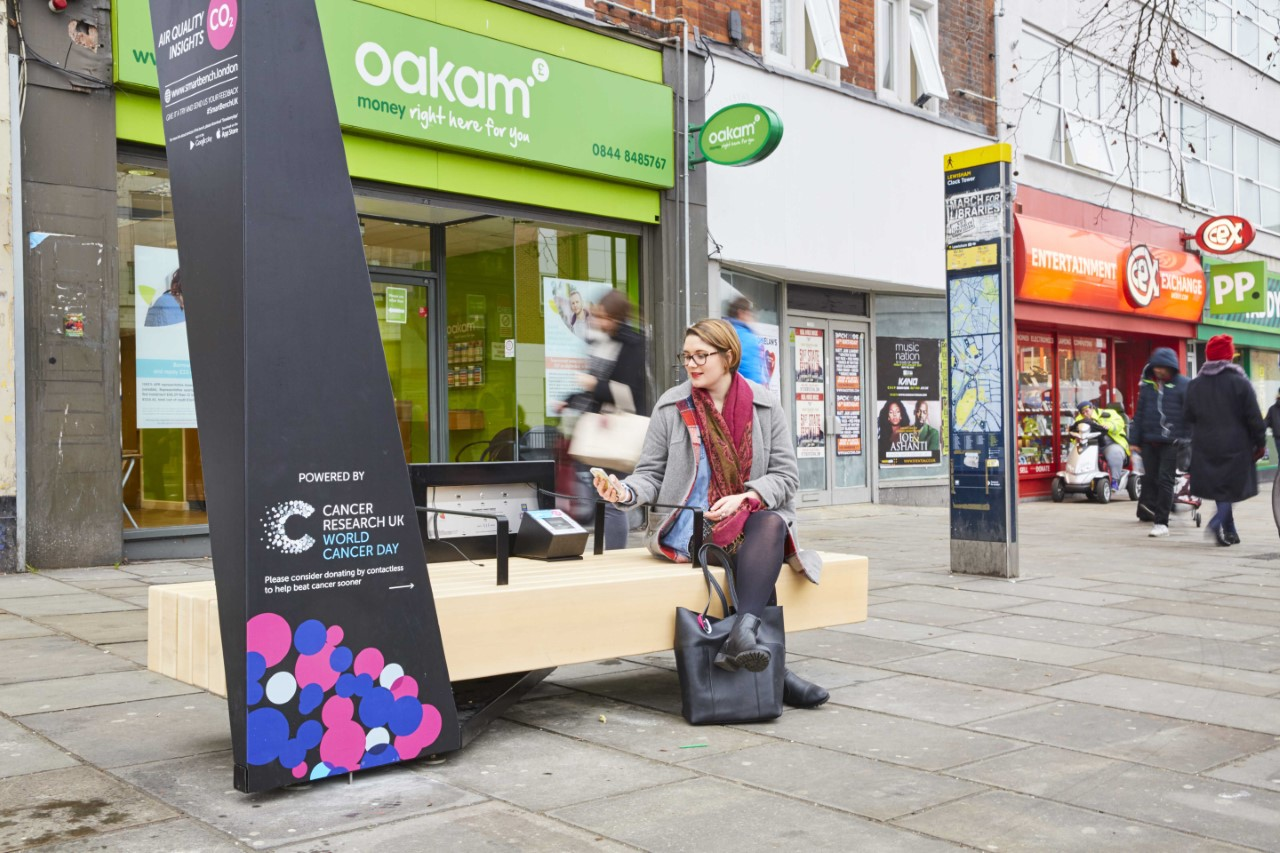 Cancer Research Smart Benches Offer Solar Power Charging, Free Wi-Fi