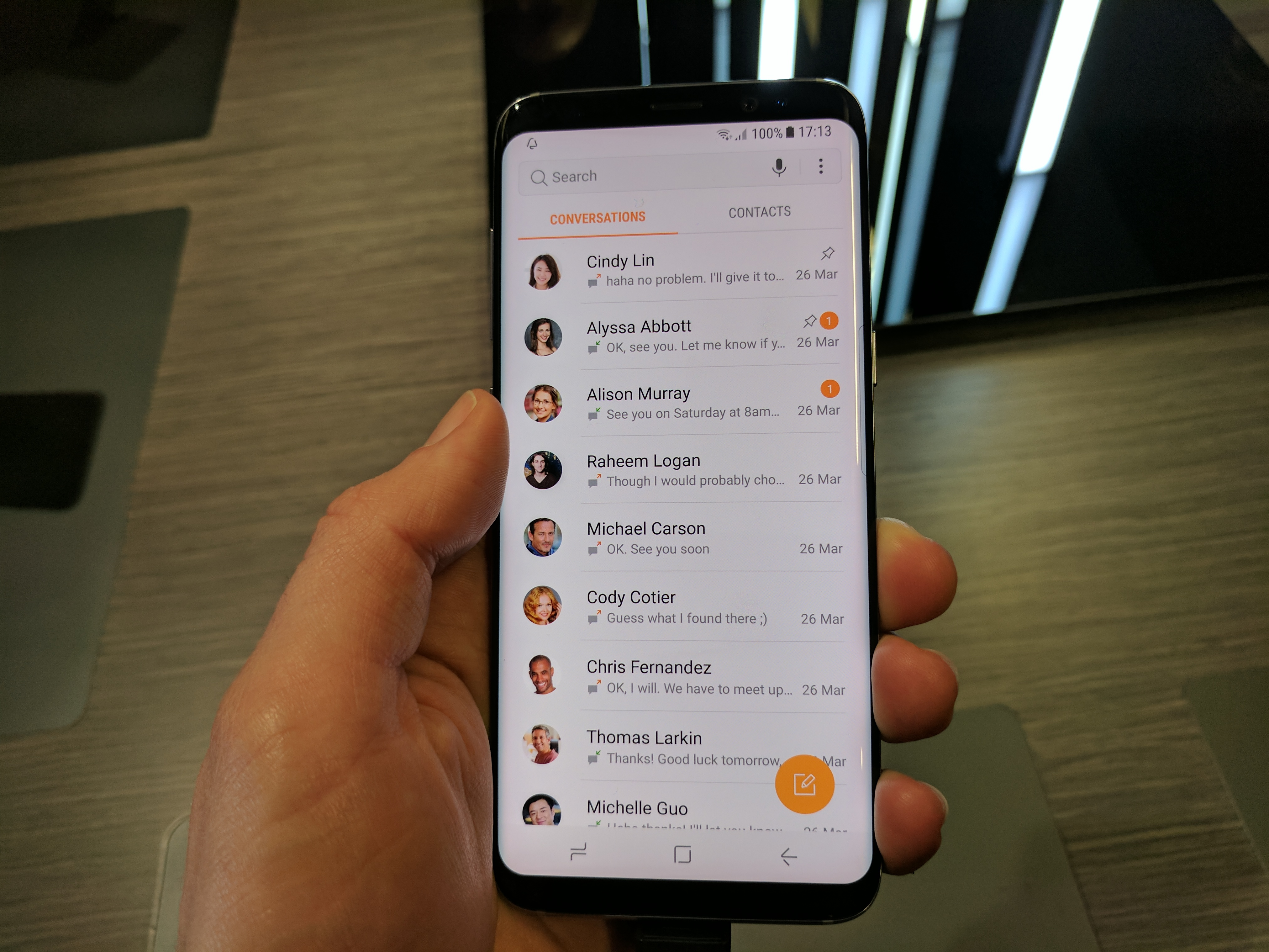 Samsung Galaxy S8 contacts