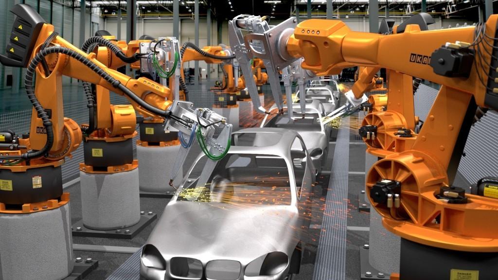 Robots making a car