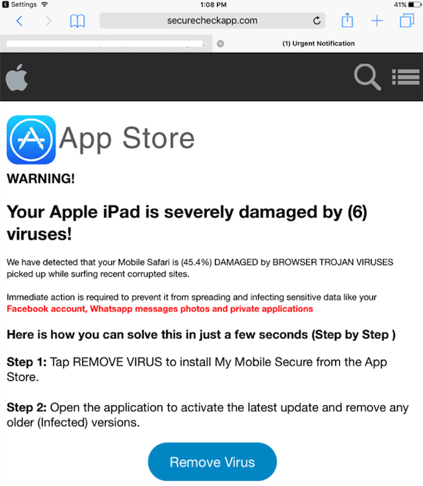 virus warning on iphone malvertising campaign targets ios users through malicious 8327