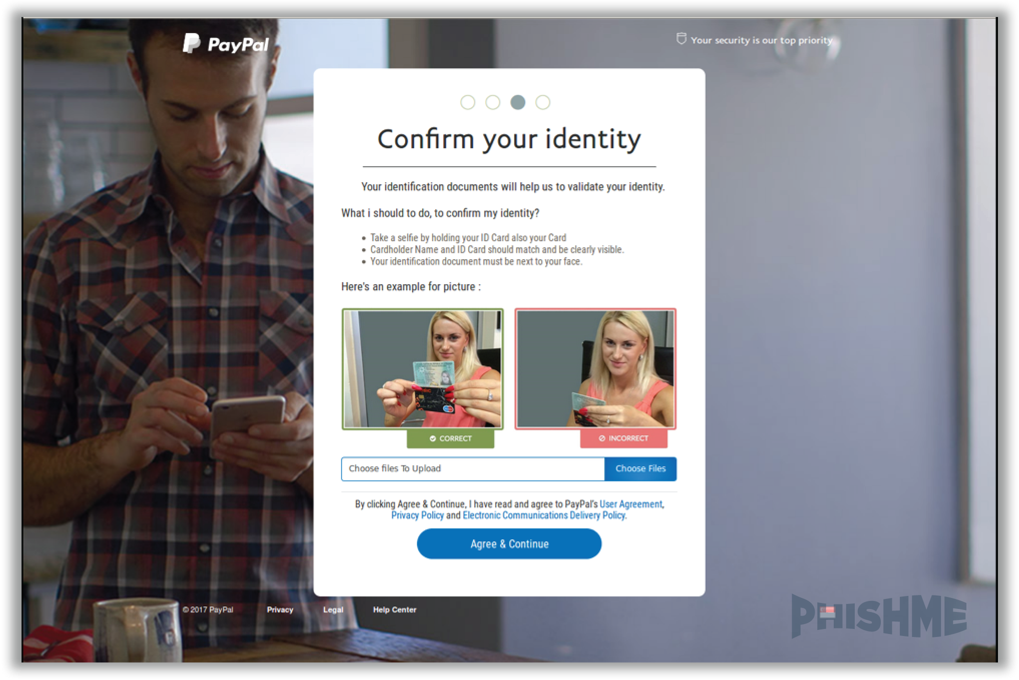 Paypal-branded Selfie With Photo Demands Id Phishing Attack