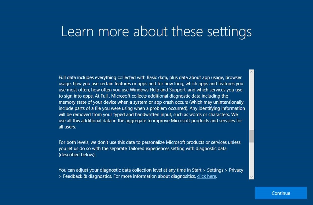 continue app experience in windows 10