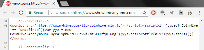 The Coinhive script inserted into the Showtime.com web page. Credit: Troy Mursch