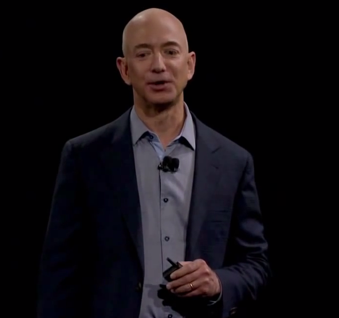 Amazon chief executive Jeff Bezos is pictured at a press conference in 2014. Credit: Amazon