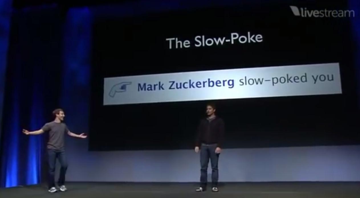 Facebook chief executive Mark Zuckerberg and actor Andy Samberg at Facebook's F8 developer conference, 2018. Credit: Facebook