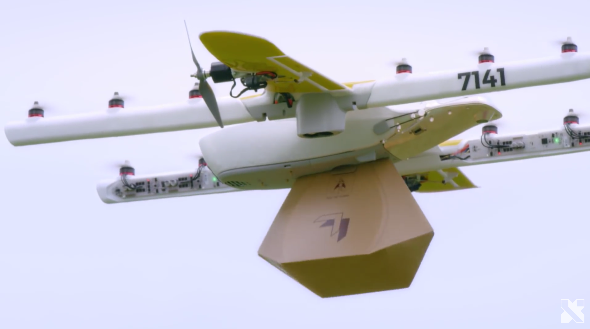 A Wing drone prototype is shown carrying a payload. Credit: Alphabet