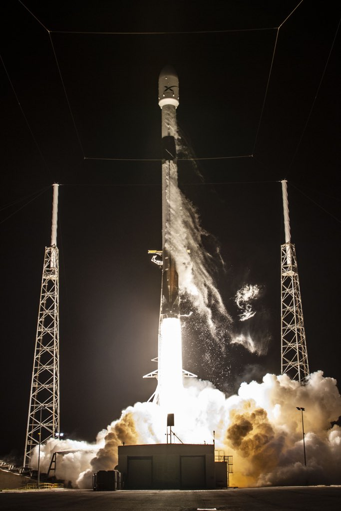 A SpaceX Falcon 9 rocket launches Starlink satellites into orbit. SpaceX