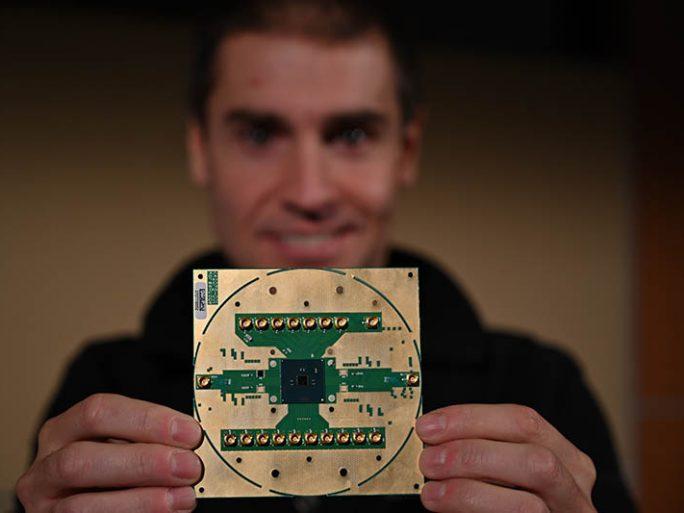 Stefano Pellerano, principal engineer at Intel Labs, holds Horse Ridge. Intel