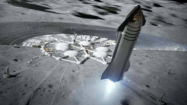 Artist's rendering of a SpaceX Starship rocket on the Moon. Image credit: SpaceX