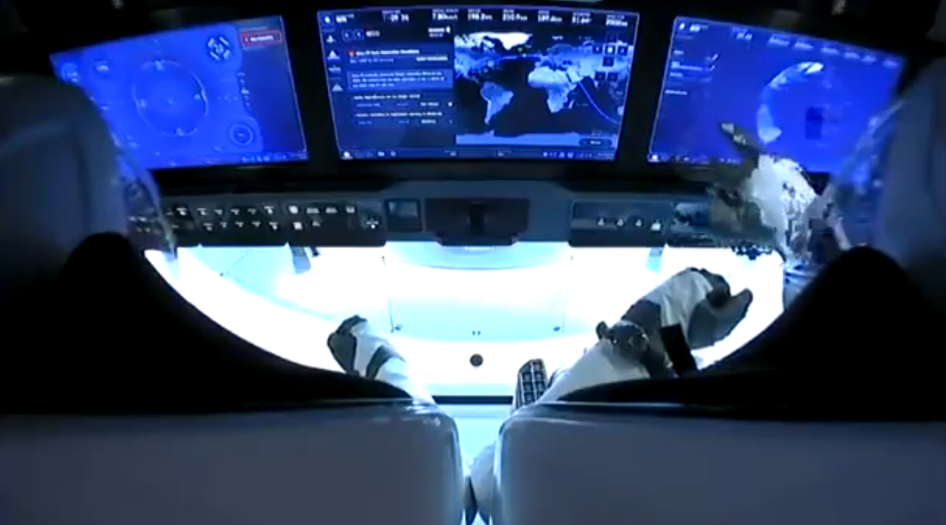 Doug Hurley and Bob Behnken seated in the Crew Dragon capsule. Image credit: SpaceX
